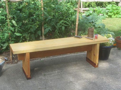 Custom Made Pine And Mahogany Garden Bench