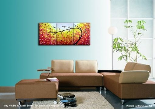 Custom Made Abstract Red Tree, Original Red, Landscape Tree Painting, By Dan Lafferty - 24 X 54