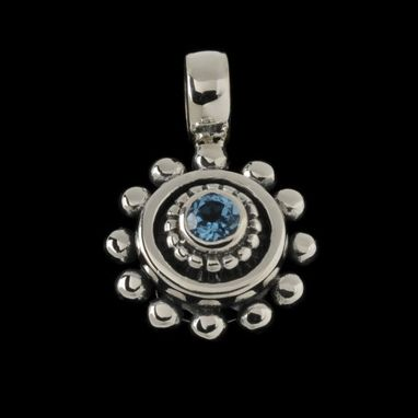 Custom Made Beaded Blue Topaz Pendant #P6448sxb
