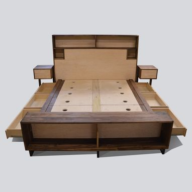 Custom Made Platform Storage Bed Maple And Walnut