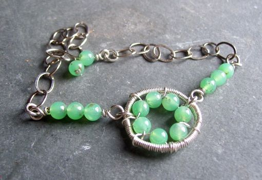 Custom Made Wire Wrapped Circle Gemstone Bracelet