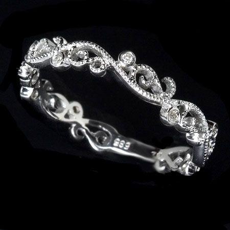 Custom Made Filigree Diamond Wedding Band Art Deco