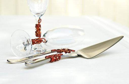Custom Made Custom Cake Server And Knife Set In Swirls Of Wire, Swarovski Crystals, Pearls And Glass Beads