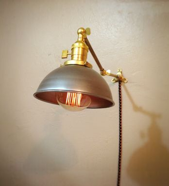 Custom Made Adjustable Articulating Wall Mount Industrial Light - Unfinished Steel & Brass Sconce