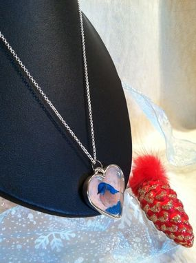 Custom Made Silver Heart Bluebird Necklace