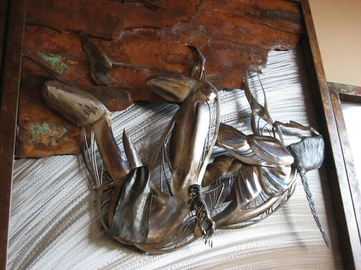 Custom Made Native American Climber Relief, Fabricated Metal Sculpture