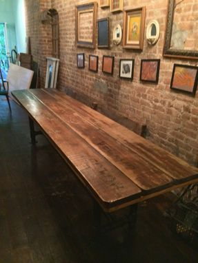 Custom Made Industrial Reclaimed Scaffolding Planks Dining Table