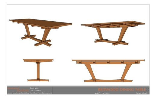Handmade Salvaged Redwood Slab Dining Table By Thomas Lutz