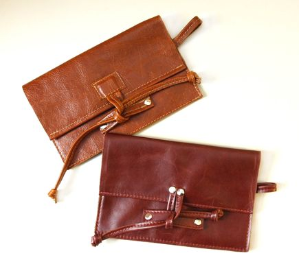 Custom Made Upcycled Leather Iphone Clutch - Made From Upholstery Leather