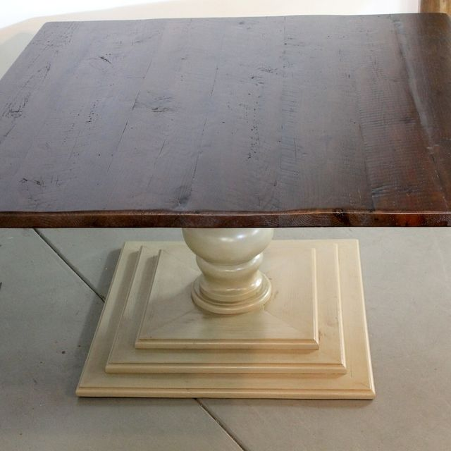 Hand Crafted 60 X Square Dining Room Table With Tiered Tuscany Pedestal Base By Ecustomfinishes Reclaimed Wood Furniture Custommade