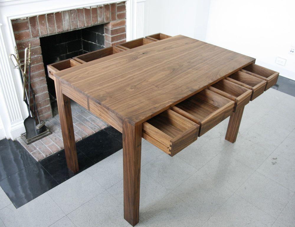Custom Made Parsons Desk American Black Walnut