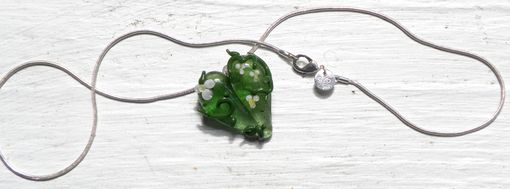 Custom Made Glass Heart Pendant, Wildflower Garden Heart, Green With White Flowers Necklace