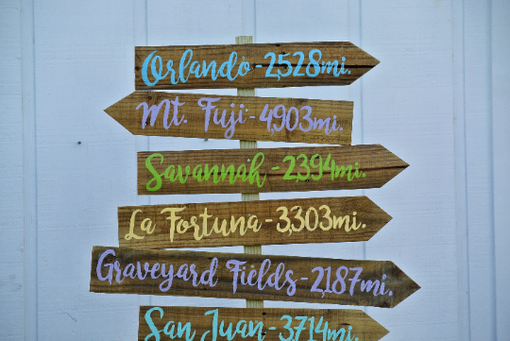 Custom Made Yard Directional Mileage Sign. Parents Gift For New House.