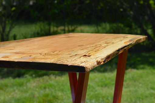 Custom Made Solid Ambrosia Maple Slab Coffee Table With Padauk Legs
