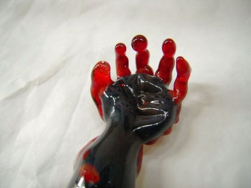 "Custom Made ""Thing"" Inspired Ruby Glass Zombie Arm Pendant - Heady Focal Bead - Charm"