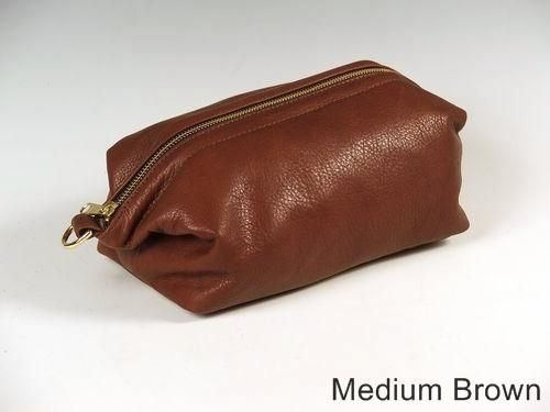 Custom Made Medium Brown Leather Shave Bag