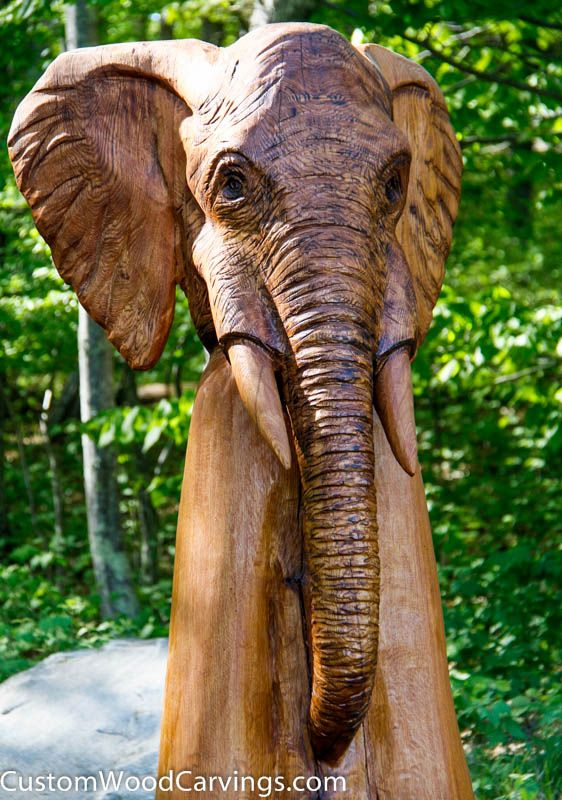 Handmade tree stump carvings by custom sculpture and