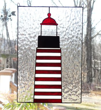 Custom Made West Quoddy Head Stained Glass Lighthouse Window Panel
