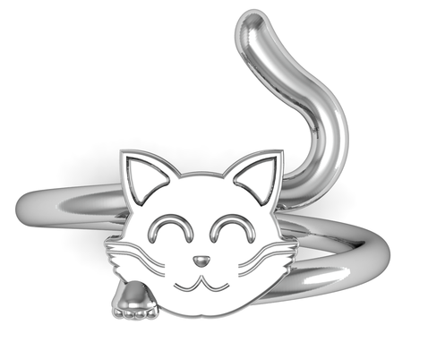 Custom Made Kitty Cat Ring In Sterling Silver
