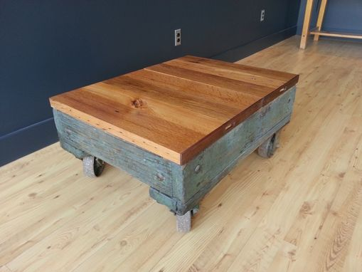Custom Made Industrial Blue Cart Coffee Table