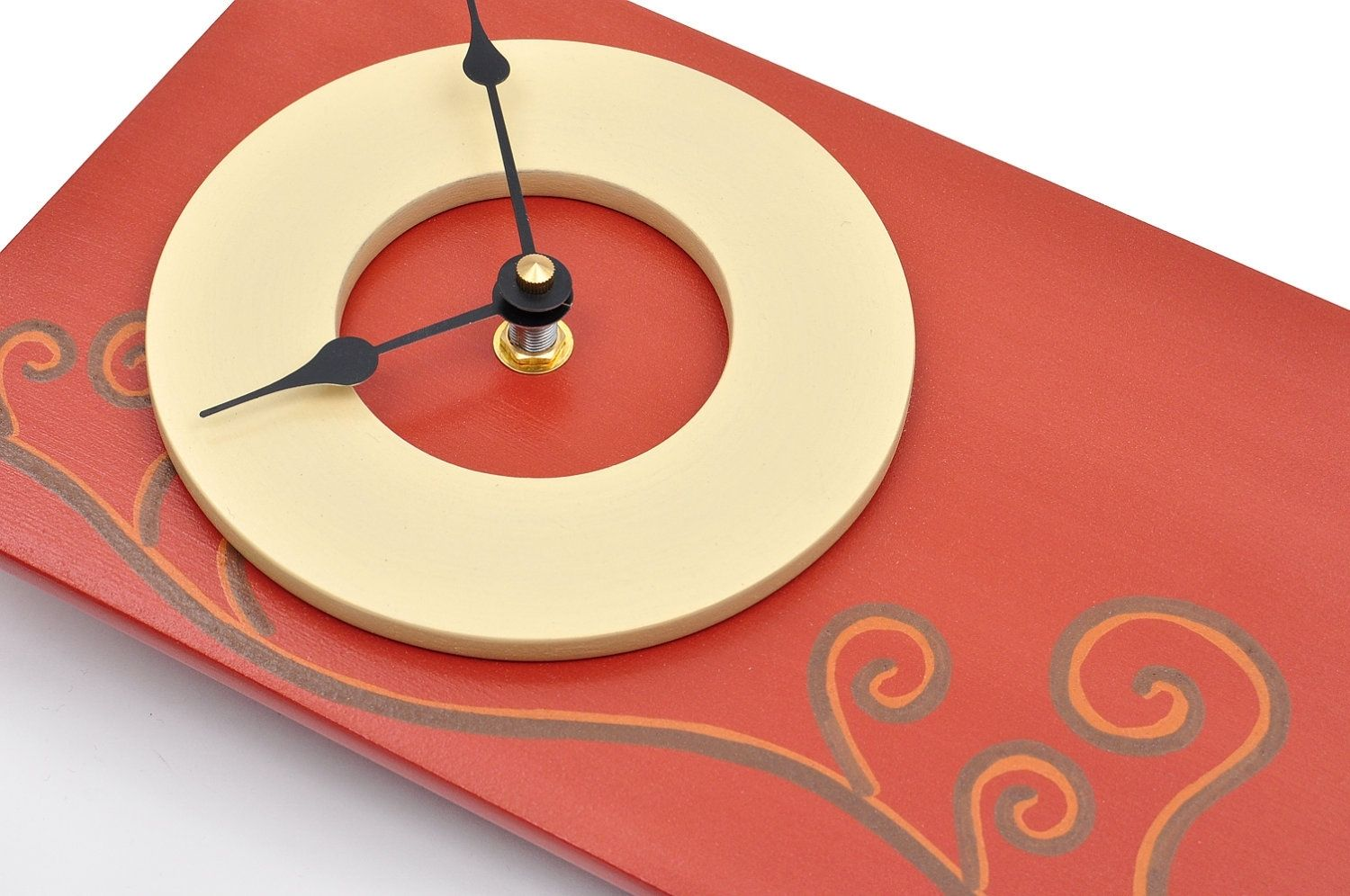 Hand Crafted Pendulum Wall Clock - Red-Orange Spiral Design ...