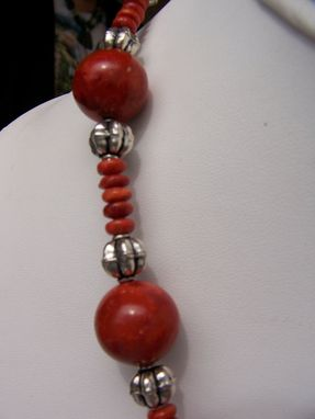 Custom Made A Contemporary Design Of Apple Coral With Sterling Silver Cap, Large Balls Of Apple Coral