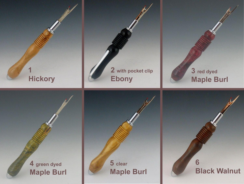 Bespoke handturned wooden clipped seam ripper /& stiletto tool quick unpick unique gift