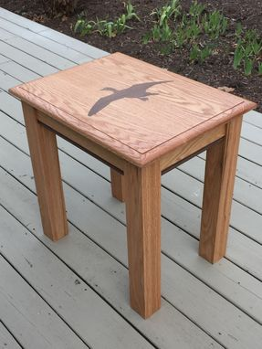 Custom Made Custom End Table- Oak With Walnut Waterfowl Inlay And Accents