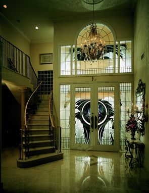 Custom Made Tropical Combination Of Stained, Beveled, Etched, And Leaded Glass In 10' Doors, Sidelites, And Transom
