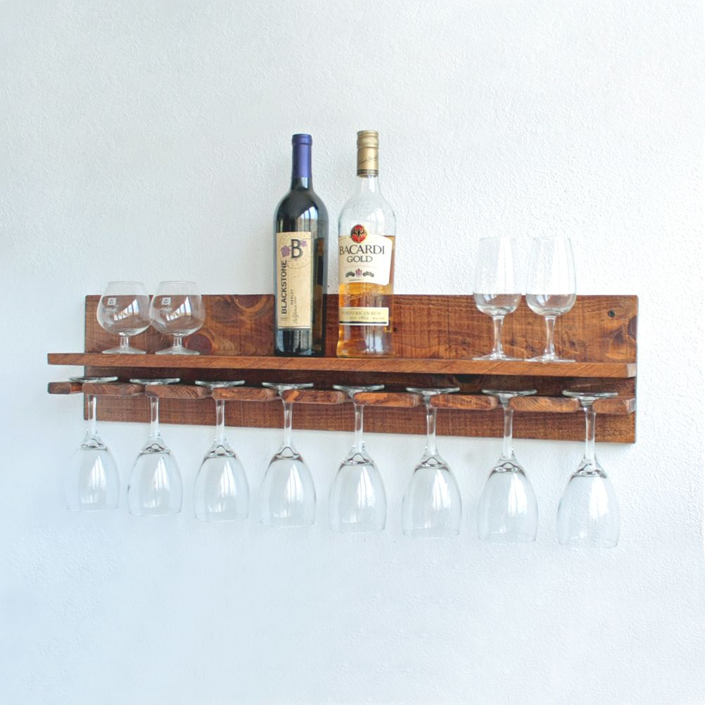 Buy Hand Made Rustic Wall Wine Glass Rack With Shelf Wood Wine