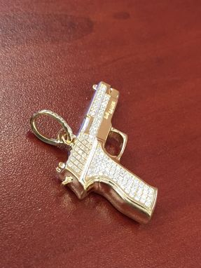 Buy a hand crafted 14k yellow gold diamond gun pendant charm 061cts custom made 14k yellow gold diamond gun pendant charm 061cts round brilliant cut sig sauer aloadofball Image collections