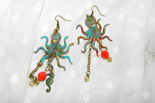 Custom Made Octopus Fever Earrings - Ooak - Plastic Toys, Upcycled