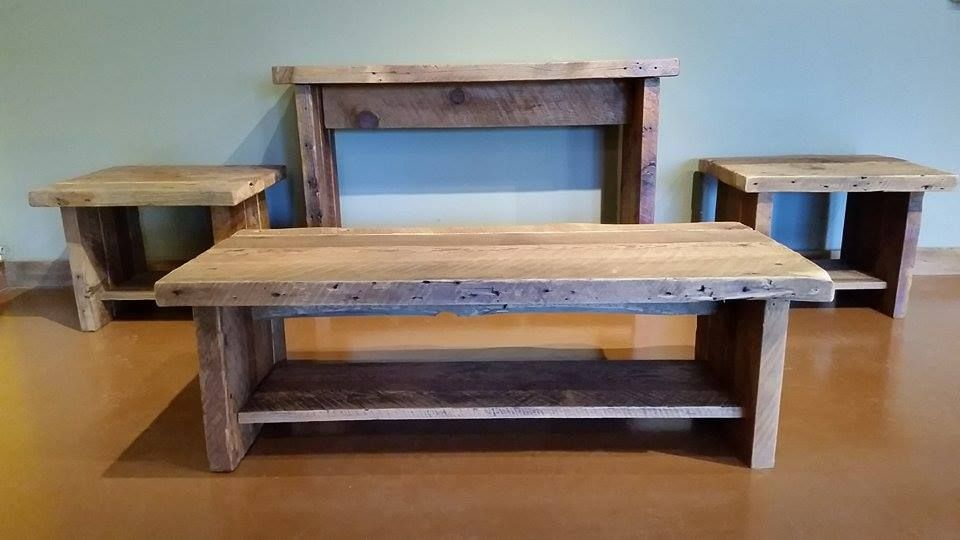 Buy A Hand Made Rustic Reclaimed Barnwood Coffee End Table Set