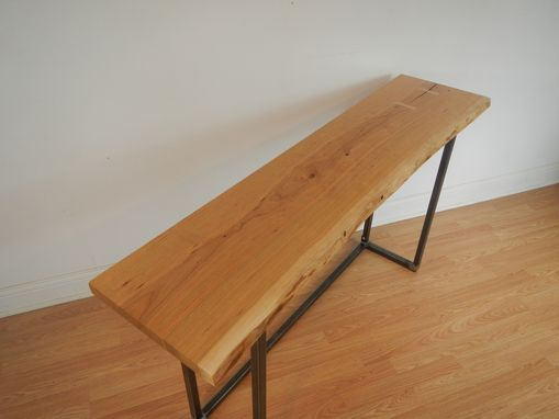 Custom Made Live Edge Cherry And Steel Mid Century Modern Console Table