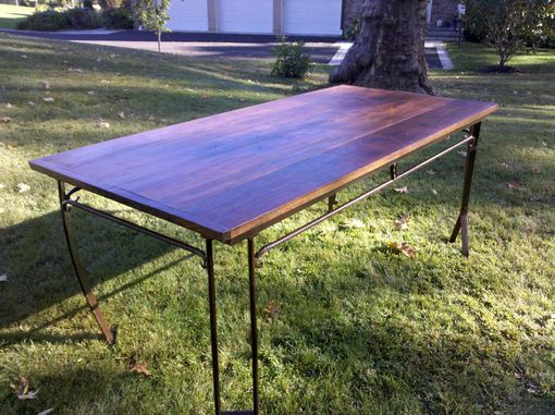 Custom Made Reclaimed Black Walnut And Metal Dining Table 6'