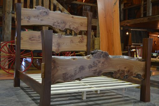 Custom Made Walnut And Elm Burl Live Edge Slab Bed
