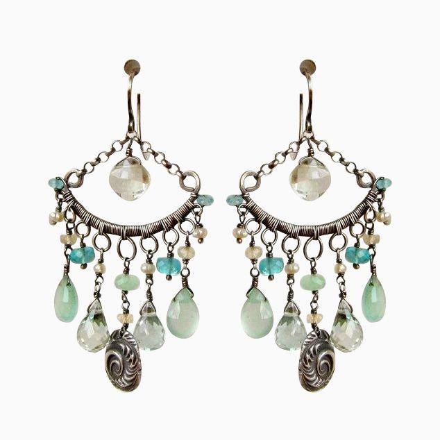 Custom Made Sterling Silver Chandelier Earrings Aqua Blue And Sea Foam Green Gemstones