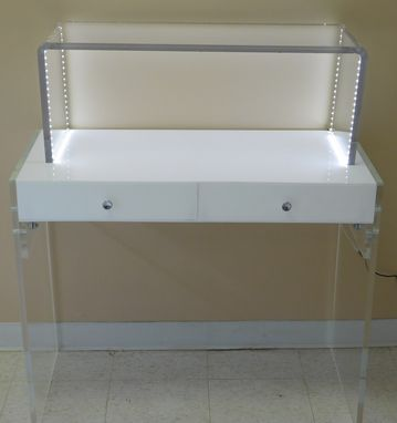 Custom Made The Lucite Desk; 2 Drawer - Vanity ; Clear, Mirrored, White, Many Colors Options Available