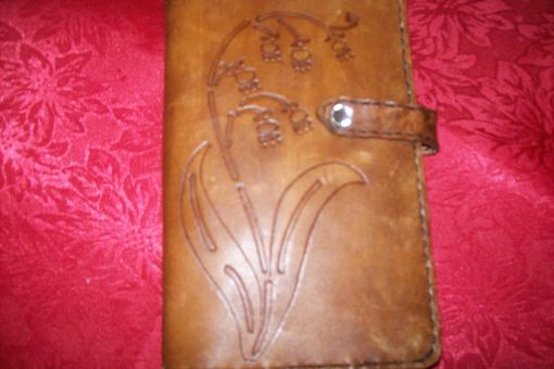Custom Made Custom Leather Pocket Day Planner With Lillies