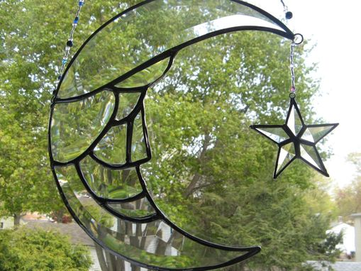 Custom Made Beveled Stained Glass Moon Man And Star Light Catcher