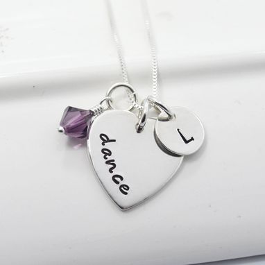 Custom Made Hand Stamped Dance Necklace With Initial And Birthstone