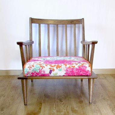 Custom Made Spindleback Lounge Chair With Eclectic Upholstery - Flora, Deer, Rams And Butterflies
