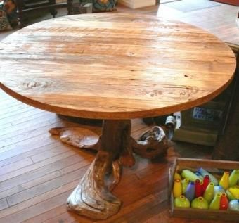 Hand Made Driftwood Reclaimed Wood Rustic Round Dining