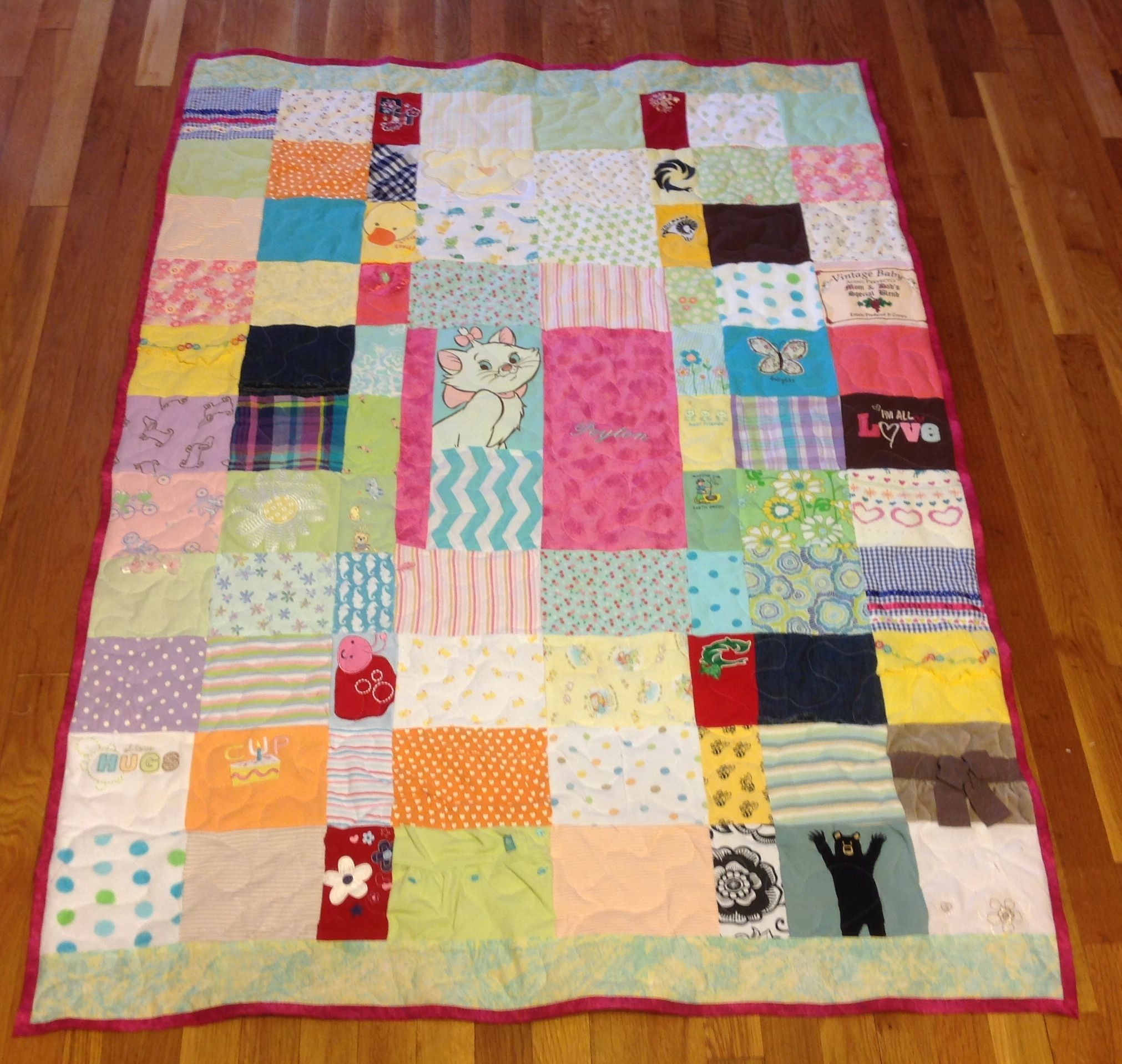 Hand Crafted Custom Embroidered Patchwork Baby Clothing Quilt By