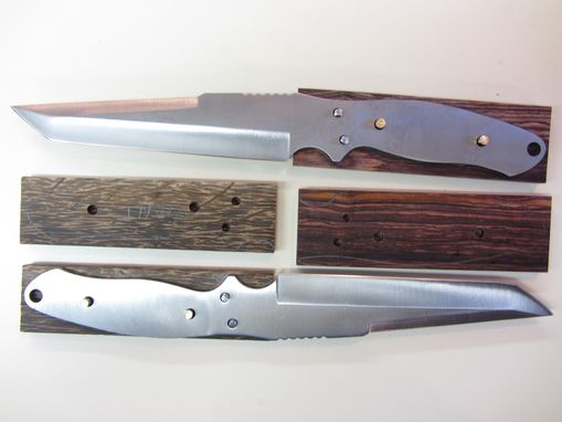 Custom Made Custom Knife - Tanto Style - Stainless Steel Blade - Handmade Black Palm Wood Handle
