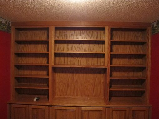 Custom Made Oak Built-In Entertainment Center