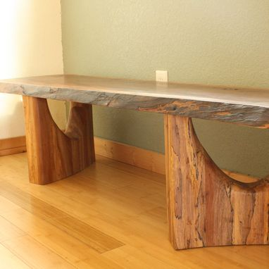Custom Made Live Edge Walnut Bench Or Coffee Table