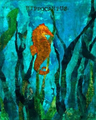 Custom Made Seahorse Mixed Media Canvas Art - Ready To Hang