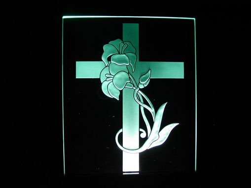 Custom Made Floral Cross On A Light Base