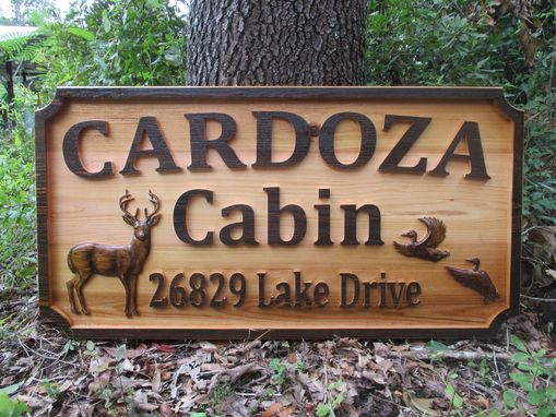 Custom Made Custom Outdoor Sign Personalized Cedar Wood Carved 3d Cabin Name Sign